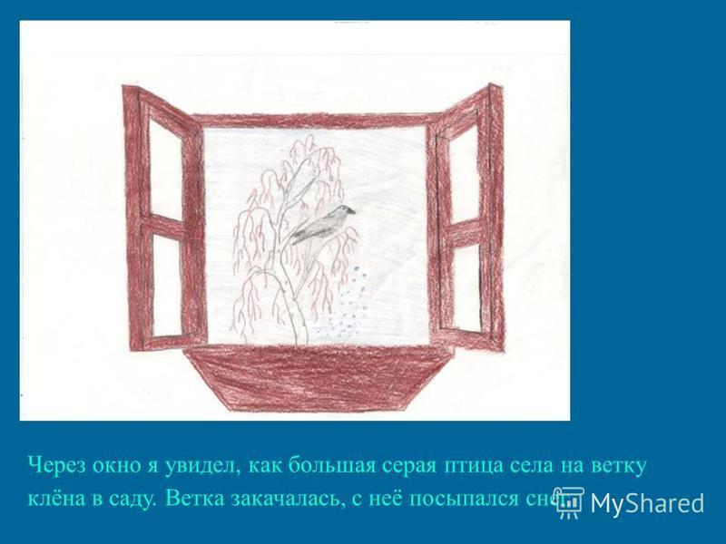 Через окно я увидел, как большая серая птица села на ветку клёна в саду. Ветка закачалась, с неё посыпался снег.