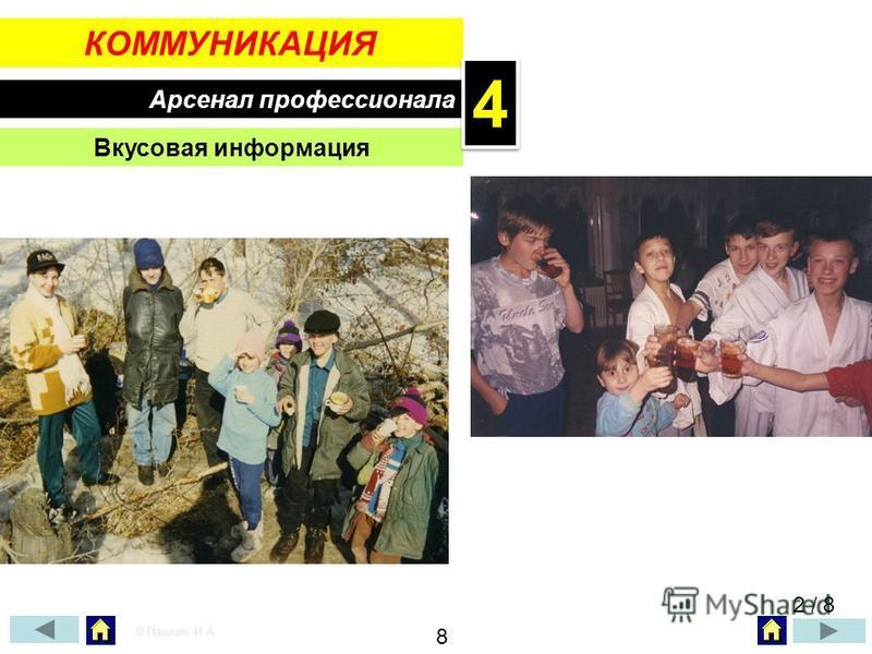 КОММУНИКАЦИЯ Арсенал профессионала Вкусовая информация 2 / 8 © Пашкин И.А. 8 44