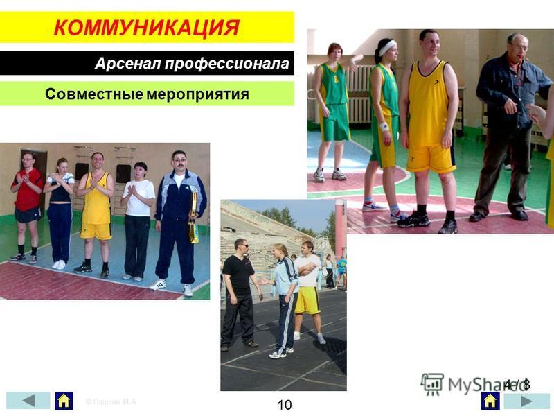 КОММУНИКАЦИЯ Арсенал профессионала Совместные мероприятия 4 / 8 © Пашкин И.А. 10