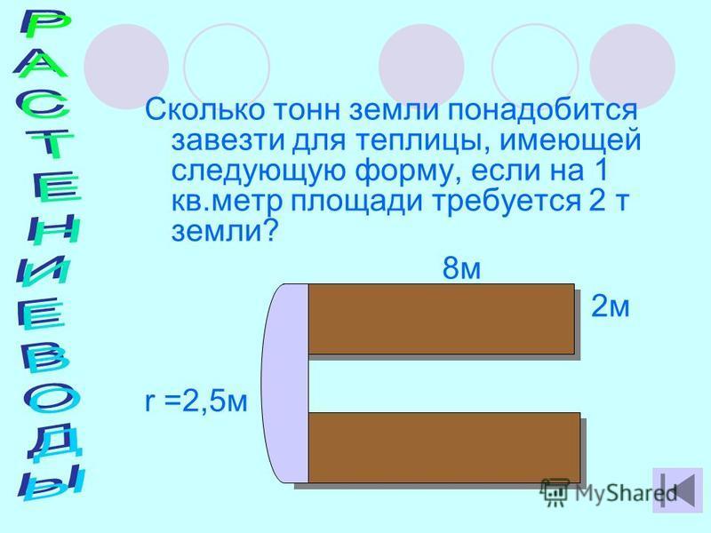 Сколько тонн земли понадобится завезти для теплицы, имеющей следующую форму, если на 1 кв.метр площади требуется 2 т земли? 8 м 2 м r =2,5 м