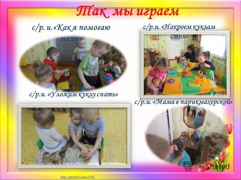 Матюшкина А.В. http://nsportal.ru/user/33485http://nsportal.ru/user/33485 Так мы играем с/р. и.«Как я помогаю маме» с/р.и. «Уложим куклу спать» с/р.и. «Накроем куклам стол» с/р.и. «Мама в парикмахерской»