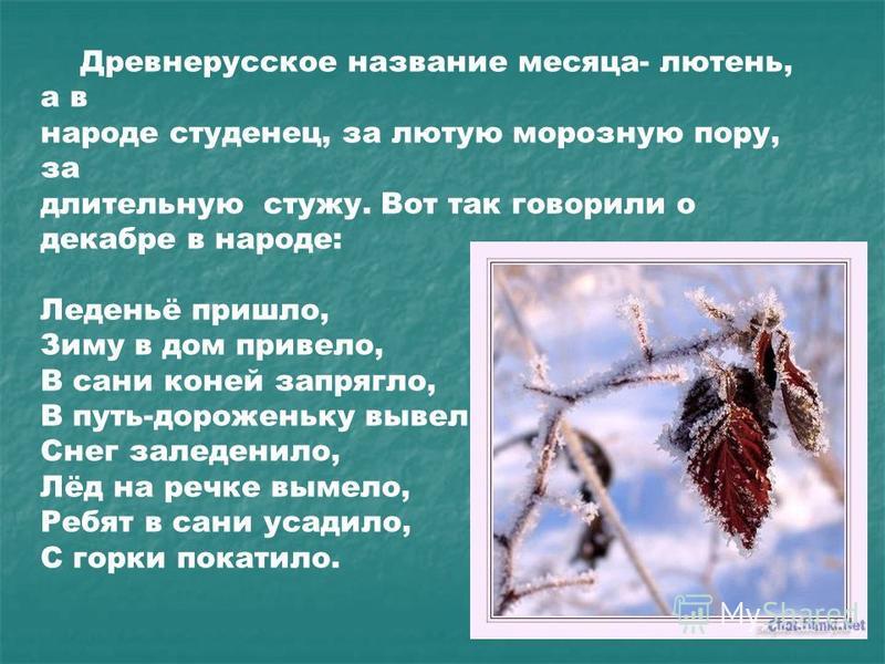 Древнерусское название месяца- тюлень, а в народе студенец, за лютую морозную пору, за длительную стужу. Вот так говорили о декабре в народе: Леденьё пришло, Зиму в дом привело, В сани коней запрягло, В путь-дороженьку вывело, Снег заледенило, Лёд на