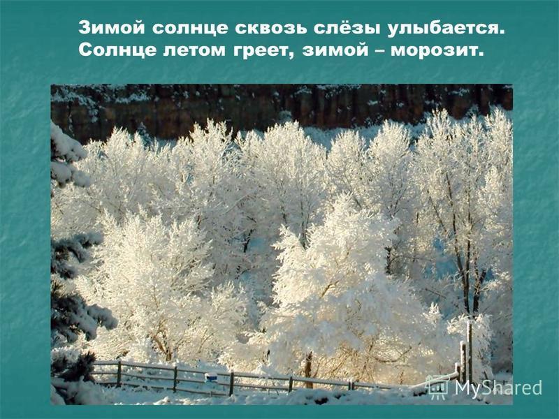 Зимой солнце сквозь слёзы улыбается. Солнце летом греет, зимой – морозит.