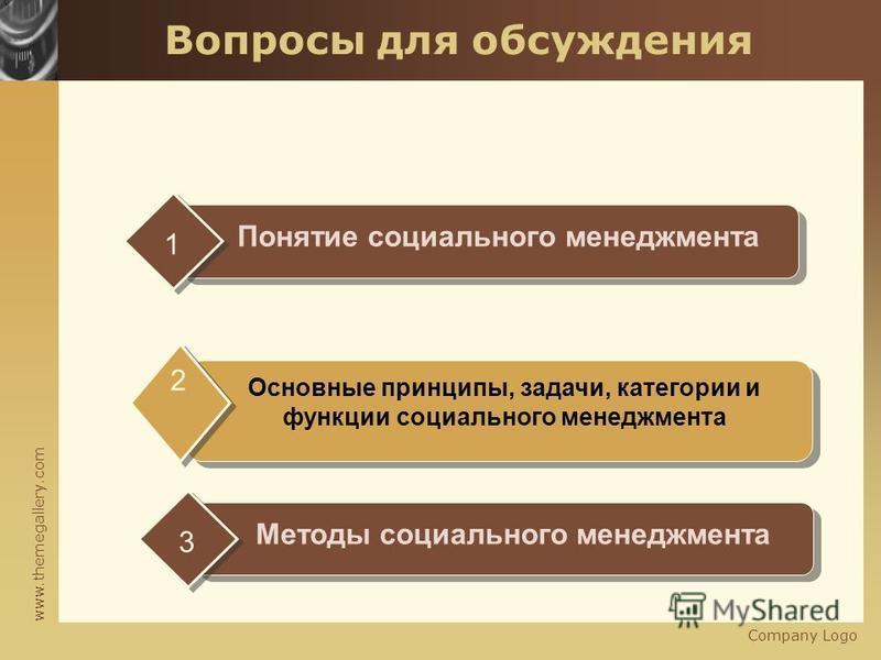 www.themegallery.com Company Logo Вопросы для обсуждения Понятие социального менеджмента 1 Основные принципы, задачи, категории и функции социального менеджмента 2 Методы социального менеджмента 3