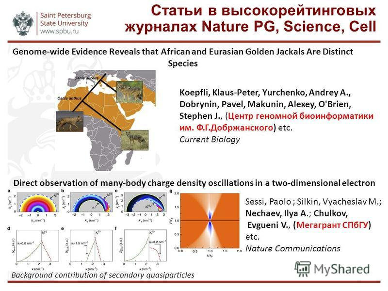 Статьи в высоко рейтинговых журналах Nature PG, Science, Cell Direct observation of many-body charge density oscillations in a two-dimensional electron gas Sessi, Paolo ; Silkin, Vyacheslav M.; Nechaev, Ilya A.; Chulkov, Evgueni V., (Мегагрант СПбГУ)