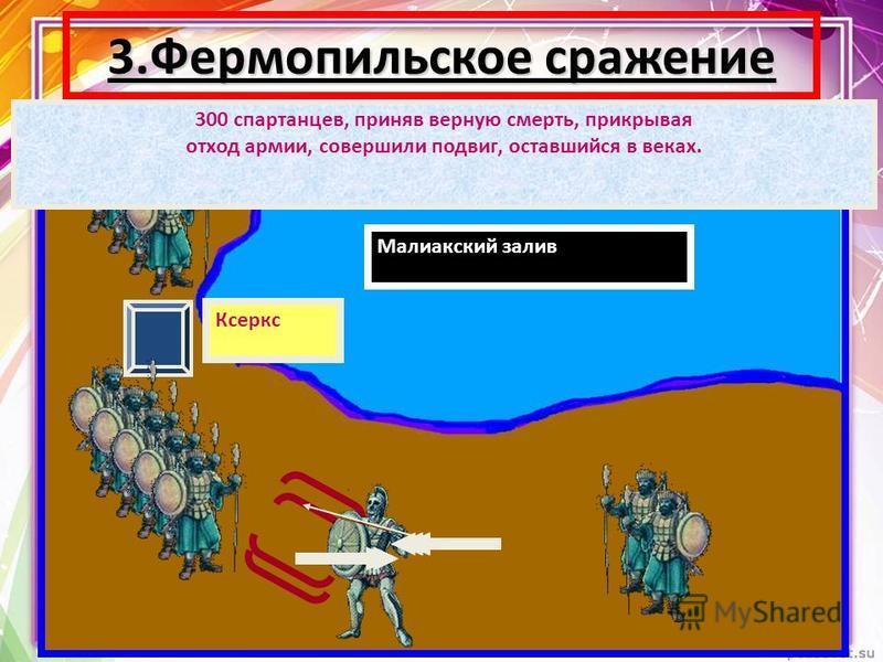 3. Фермопильское сражение Малиакский залив Ксеркс 300 спартанцев, приняв верную смерть, прикрывая отход армии, совершили подвиг, оставшийся в веках.