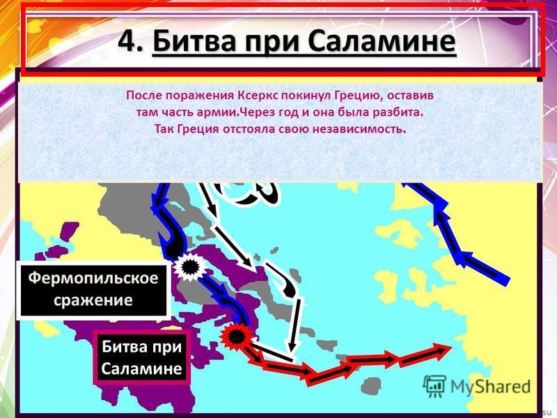 4. Битва при Саламине 4. Битва при Саламине Фермопильское сражение После поражения Ксеркс покинул Грецию, оставив там часть армии.Через год и она была разбита. Так Греция отстояла свою независимость. Битва при Саламине