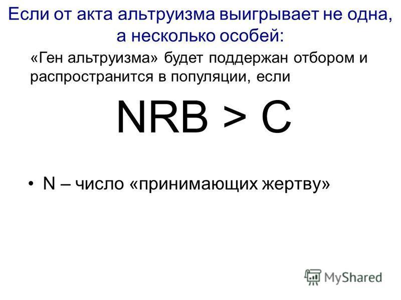 Если от акта альтруизма выигрывает не одна, а несколько особей: NRB > C N – число «принимающих жертву» «Ген альтруизма» будет поддержан отбором и распространится в популяции, если