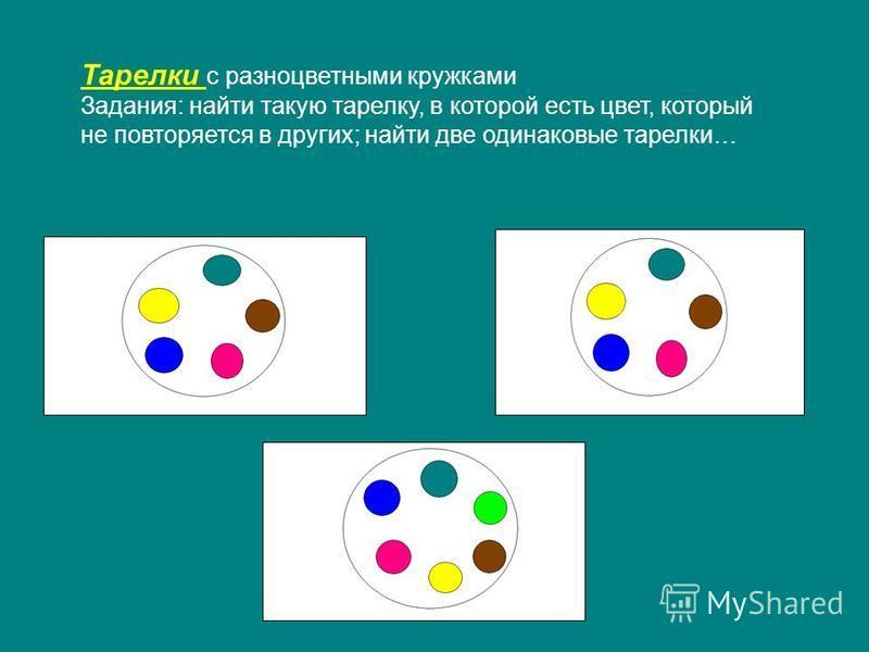 Тарелки с разноцветными кружками Задания: найти такую тарелку, в которой есть цвет, который не повторяется в других; найти две одинаковые тарелки…