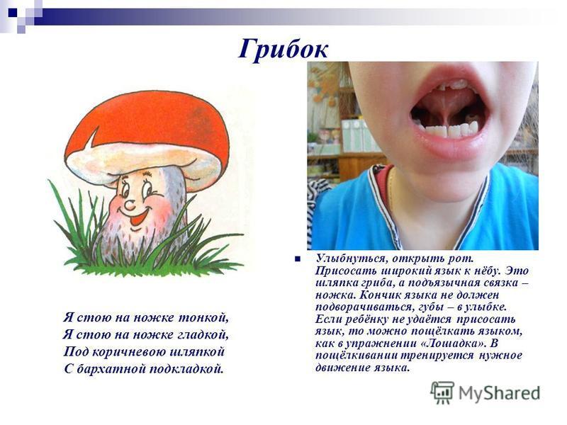 Грибок Улыбнуться, открыть рот. Присосать широкий язык к нёбу. Это шляпка гриба, а подъязычная связка – ножка. Кончик языка не должен подворачиваться, губы – в улыбке. Если ребёнку не удаётся присосать язык, то можно пощёлкать языком, как в упражнени