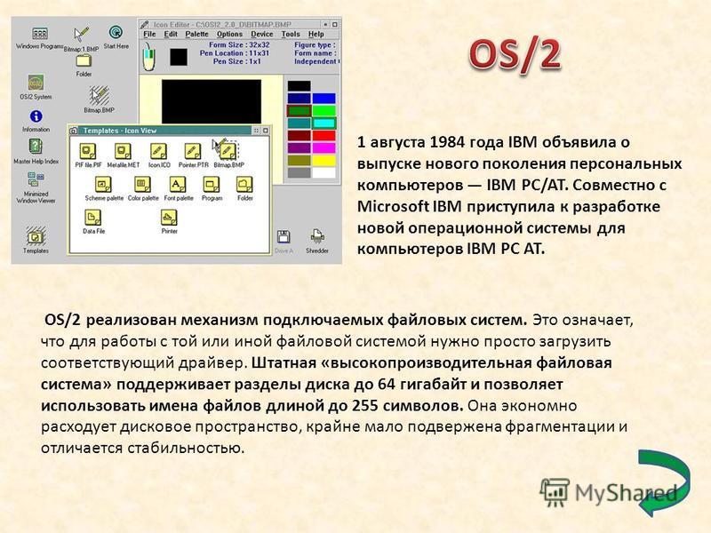 1 августа 1984 года IBM объявила о выпуске нового поколения персональных компьютеров IBM PC/AT. Совместно с Microsoft IBM приступила к разработке новой операционной системы для компьютеров IBM PC AT. OS/2 реализован механизм подключаемых файловых сис