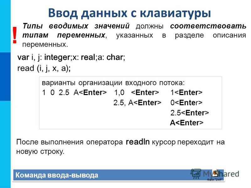 Ввод данных с клавиатуры Команда ввода-вывода var i, j: integer;x: real;a: char; read (i, j, x, a); После выполнения оператора readln курсор переходит на новую строку. варианты организации входного потока: 1 0 2.5 А 1,0 1 2.5, А 0 2.5 А Типы вводимых