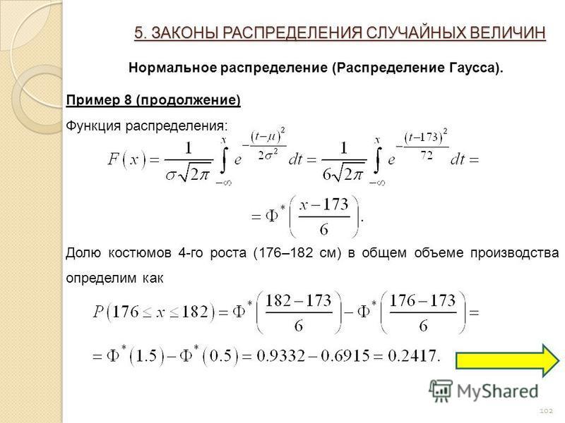 102 5. ЗАКОНЫ РАСПРЕДЕЛЕНИЯ СЛУЧАЙНЫХ ВЕЛИЧИН Нормальное распределение (Распределение Гаусса). Пример 8 (продолжение) Функция распределения: Долю костюмов 4-го роста (176–182 см) в общем объеме производства определим как