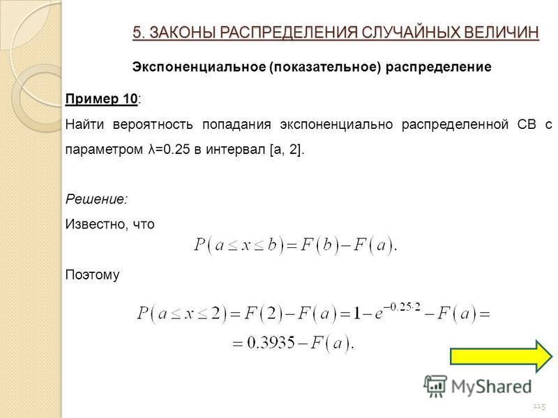 115 5. ЗАКОНЫ РАСПРЕДЕЛЕНИЯ СЛУЧАЙНЫХ ВЕЛИЧИН Экспоненциальное (показательное) распределение Пример 10: Найти вероятность попадания экспоненциально распределенной СВ с параметром λ=0.25 в интервал [a, 2]. Решение: Известно, что Поэтому