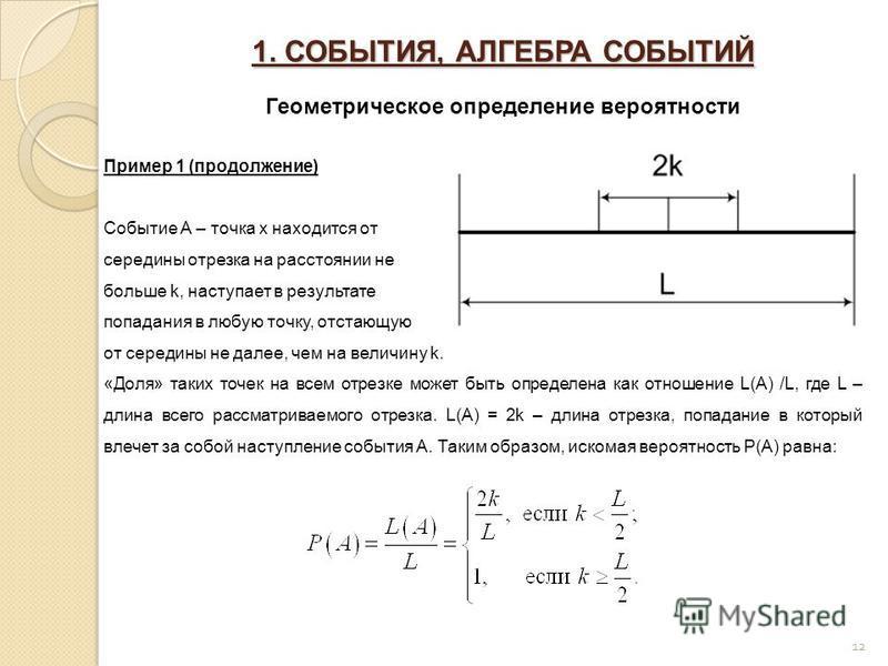 1. СОБЫТИЯ, АЛГЕБРА СОБЫТИЙ Геометрическое определение вероятности 12 Пример 1 (продолжение) Событие А – точка x находится от середины отрезка на расстоянии не больше k, наступает в результате попадания в любую точку, отстающую от середины не далее,