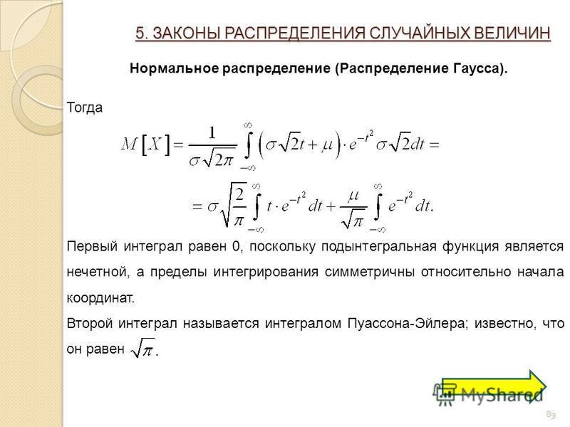 89 5. ЗАКОНЫ РАСПРЕДЕЛЕНИЯ СЛУЧАЙНЫХ ВЕЛИЧИН Нормальное распределение (Распределение Гаусса). Тогда Первый интеграл равен 0, поскольку подынтегральная функция является нечетной, а пределы интегрирования симметричны относительно начала координат. Втор