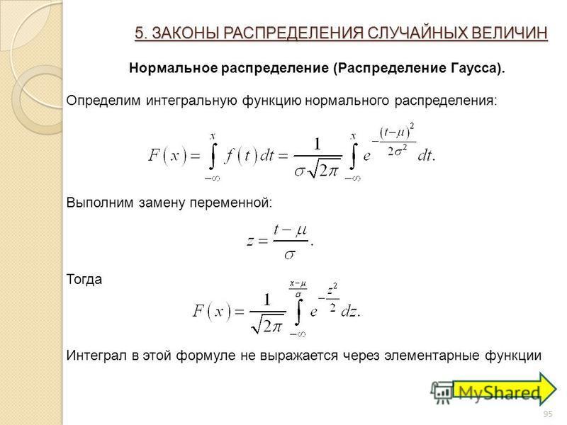 95 5. ЗАКОНЫ РАСПРЕДЕЛЕНИЯ СЛУЧАЙНЫХ ВЕЛИЧИН Нормальное распределение (Распределение Гаусса). Определим интегральную функцию нормального распределения: Выполним замену переменной: Тогда Интеграл в этой формуле не выражается через элементарные функции