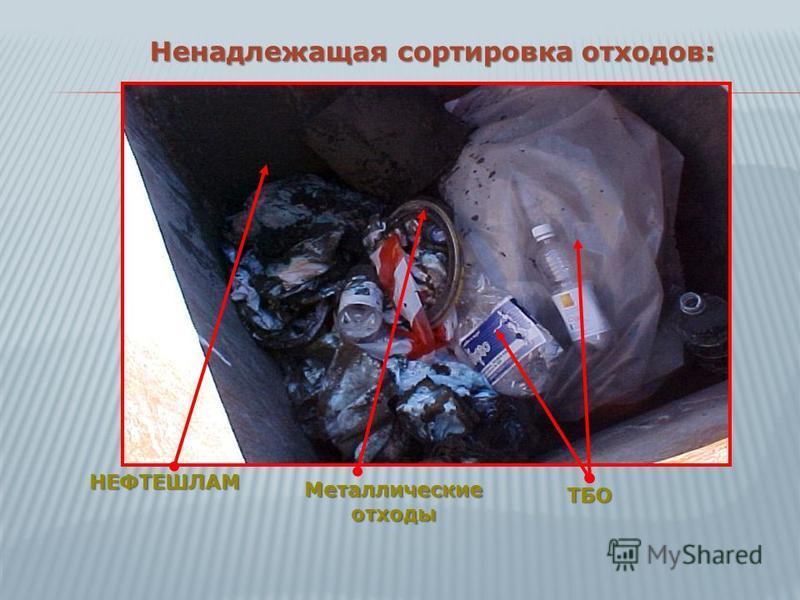 Ненадлежащая сортировка отходов: НЕФТЕШЛАМ Металлические отходы ТБО