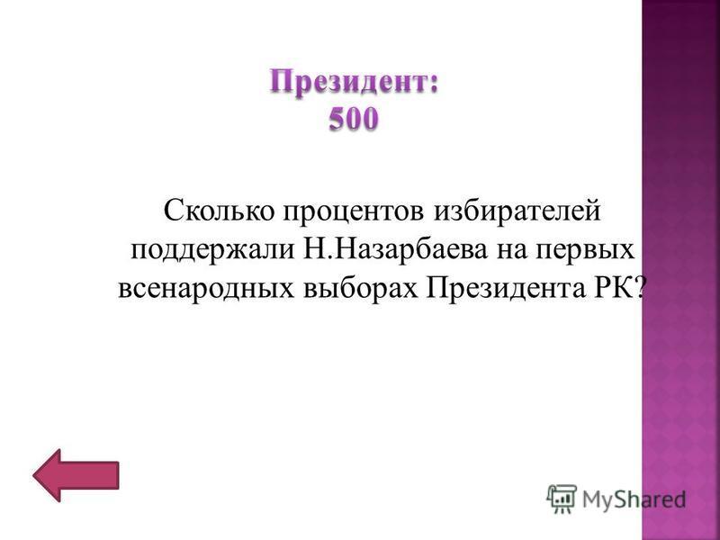 Сколько процентов избирателей поддержали Н.Назарбаева на первых всенародных выборах Президента РК?