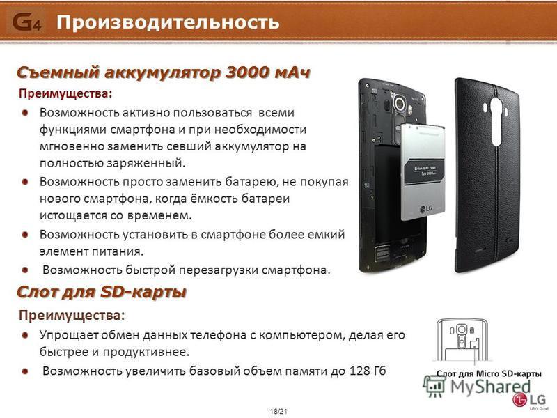 18/21 Производительность Съемный аккумулятор 3000 м Ач Слот для SD-карты