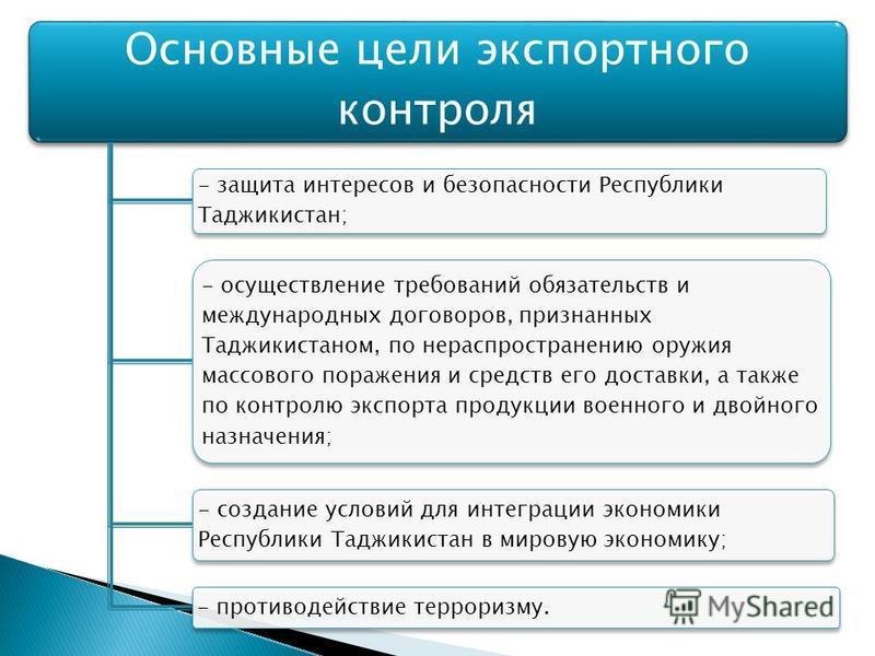 Основные цели экспортного контроля - защита интересов и безопасности Республики Таджикистан; - осуществление требований обязательств и международных договоров, признанных Таджикистаном, по нераспространению оружия массового поражения и средств его до