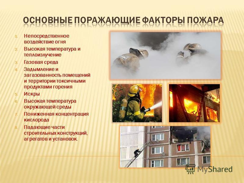 1. Непосредственное воздействие огня 2. Высокая температура и теплоизлучение 3. Газовая среда 4. Задымление и загазованность помещений и территории токсичными продуктами горения 5. Искры 6. Высокая температура окружающей среды 7. Пониженная концентра