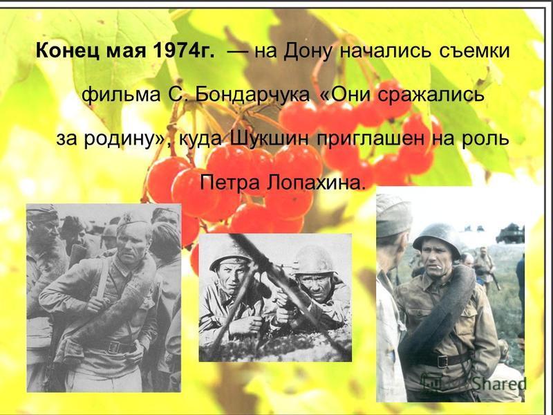 Конец мая 1974 г. на Дону начались съемки фильма С. Бондарчука «Они сражались за родину», куда Шукшин приглашен на роль Петра Лопахина.