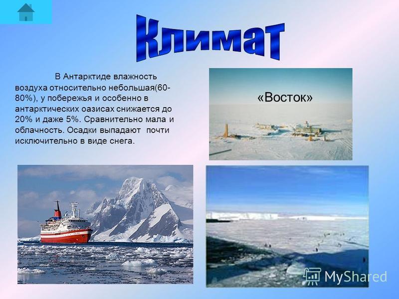 В Антарктиде влажность воздуха относительно небольшая(60- 80%), у побережья и особенно в антарктических оазисах снижается до 20% и даже 5%. Сравнительно мала и облачность. Осадки выпадают почти исключительно в виде снега. «Восток»