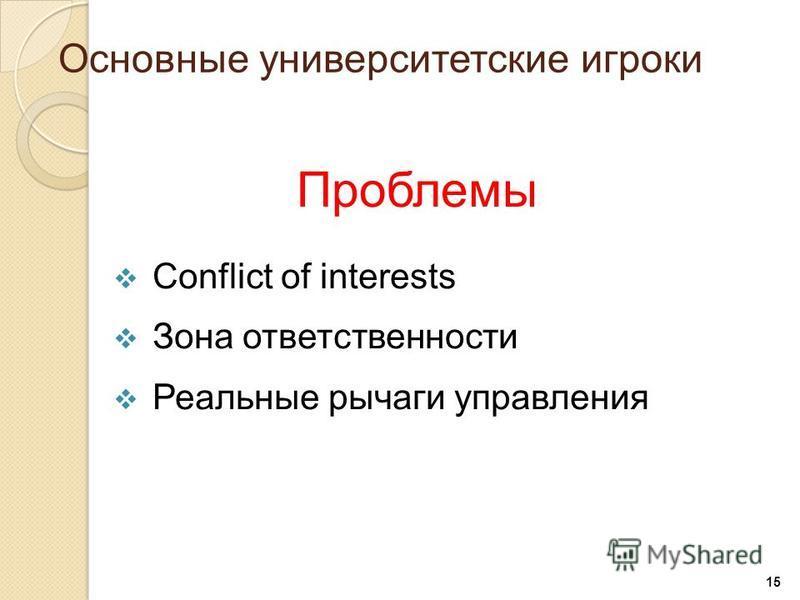 15 Проблемы Conflict of interests Зона ответственности Реальные рычаги управления Основные университетские игроки