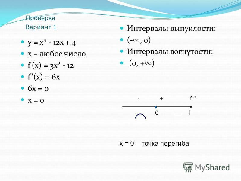 Проверка Вариант 1 у = х³ - 12 х + 4 х – любое число f'(х) = 3 х² - 12 f''(х) = 6 х 6 х = 0 х = 0 Интервалы выпуклости: (-, 0) Интервалы вогнутости: (0, +) - + f 0 f х = 0 – точка перегиба