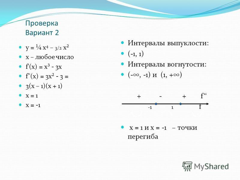 Проверка Вариант 2 у = ¼ х 4 – 3/2 х² х – любое число f'(х) = х³ - 3 х f''(х) = 3 х² - 3 = 3(х – 1)(х + 1) х = 1 х = -1 Интервалы выпуклости: (-1, 1) Интервалы вогнутости: (-, -1) и (1, +) + - + f - 1 1 f х = 1 и х = -1 – точки перегиба