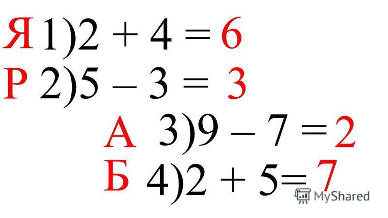 1)2 + 4 = 2)5 – 3 = 3)9 – 7 = 4)2 + 5= Я 6 Р 3 А 2 Б 7