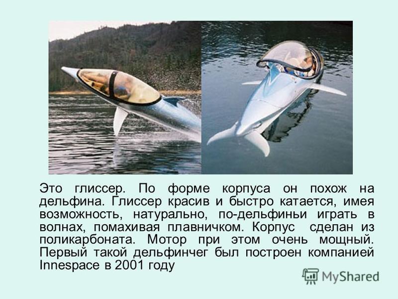 Это глиссер. По форме корпуса он похож на дельфина. Глиссер красив и быстро катается, имея возможность, натурально, по-дельфиньи играть в волнах, помахивая плавничком. Корпус сделан из поликарбоната. Мотор при этом очень мощный. Первый такой дельфинч