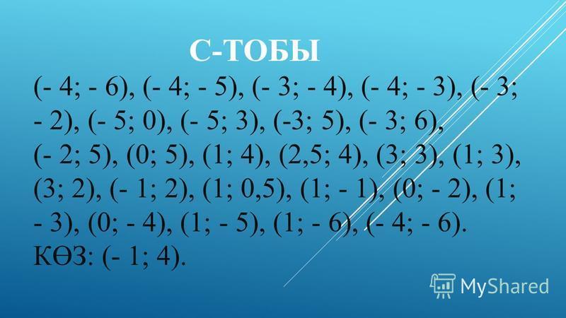 С-ТОБЫ (- 4; - 6), (- 4; - 5), (- 3; - 4), (- 4; - 3), (- 3; - 2), (- 5; 0), (- 5; 3), (-3; 5), (- 3; 6), (- 2; 5), (0; 5), (1; 4), (2,5; 4), (3; 3), (1; 3), (3; 2), (- 1; 2), (1; 0,5), (1; - 1), (0; - 2), (1; - 3), (0; - 4), (1; - 5), (1; - 6), (- 4