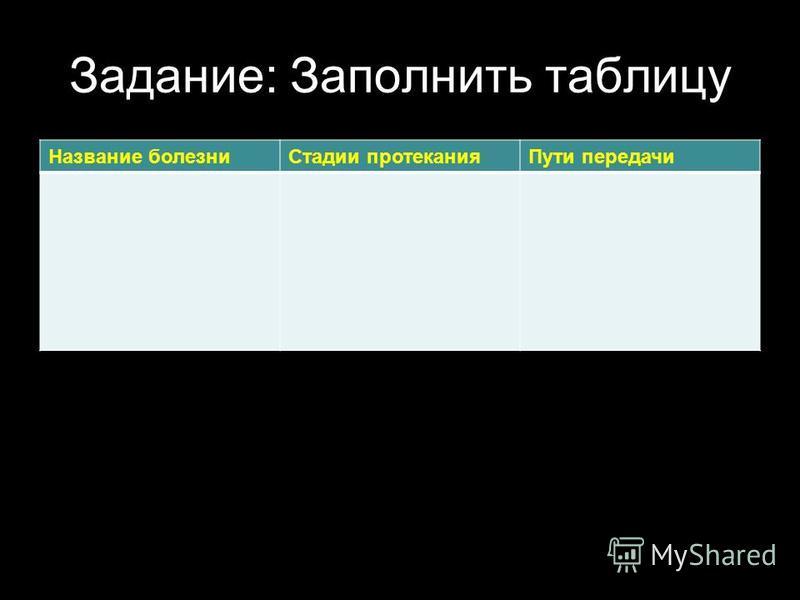 Задание: Заполнить таблицу Название болезни Стадии протекания Пути передачи