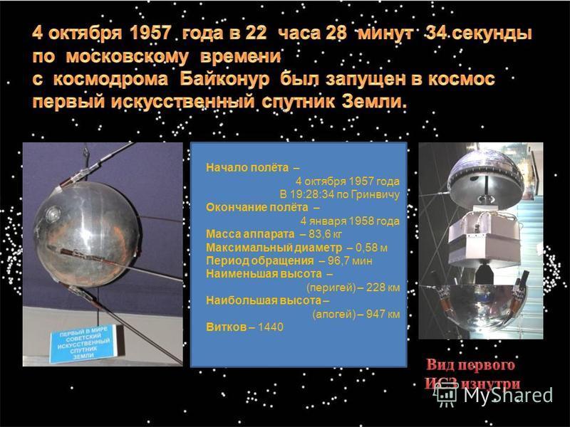 Начало полёта – 4 октября 1957 года В 19:28:34 по Гринвичу Окончание полёта – 4 января 1958 года Масса аппарата – 83,6 кг Максимальный диаметр – 0,58 м Период обращения – 96,7 мин Наименьшая высота – (перигей) – 228 км Наибольшая высота – (апогей) –