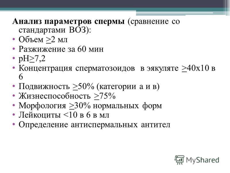 Анализ параметров спермы (сравнение со стандартами ВОЗ): Объем >2 мл Разжижение за 60 мин рН>7,2 Концентрация сперматозоидов в эякуляте >40 х 10 в 6 Подвижность >50% (категории а и в) Жизнеспособность >75% Морфология >30% нормальных форм Лейкоциты <1