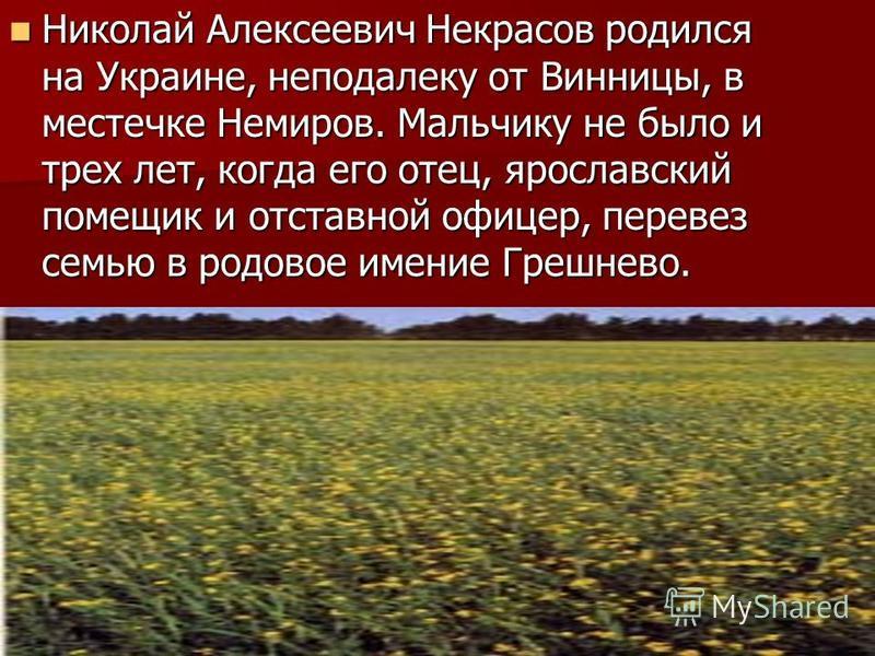Николай Алексеевич Некрасов родился на Украине, неподалеку от Винницы, в местечке Немиров. Мальчику не было и трех лет, когда его отец, ярославский помещик и отставной офицер, перевез семью в родовое имение Грешнево. Николай Алексеевич Некрасов родил