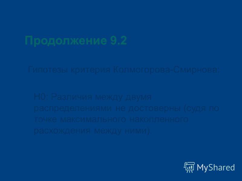 Продолжение 9.2 Гипотезы критерия Колмогорова-Смирнова: Н0: Различия между двумя распределениями не достоверны (судя по точке максимального накопленного расхождения между ними).