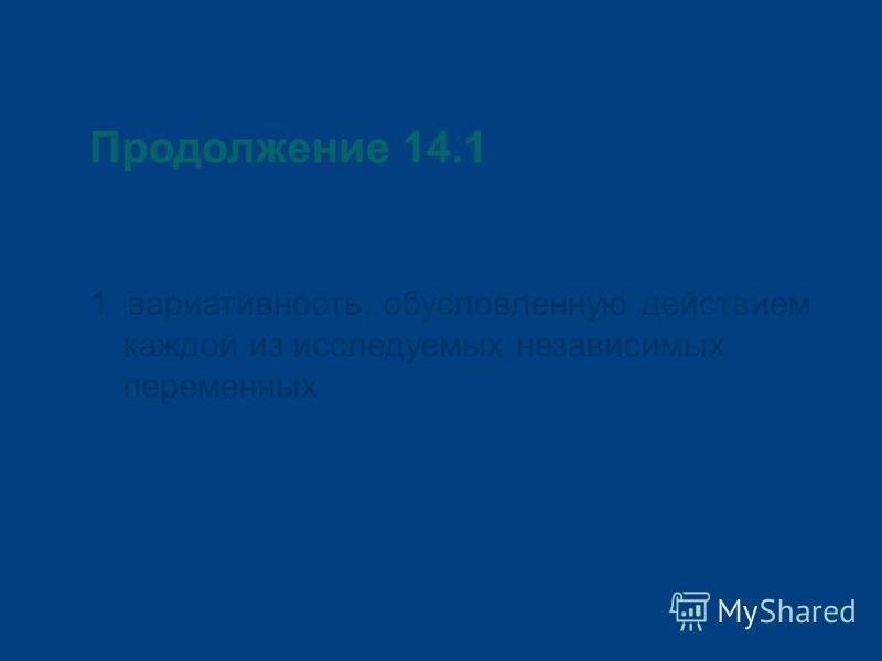 Продолжение 14.1 1. вариативность, обусловленную действием каждой из исследуемых независимых переменных