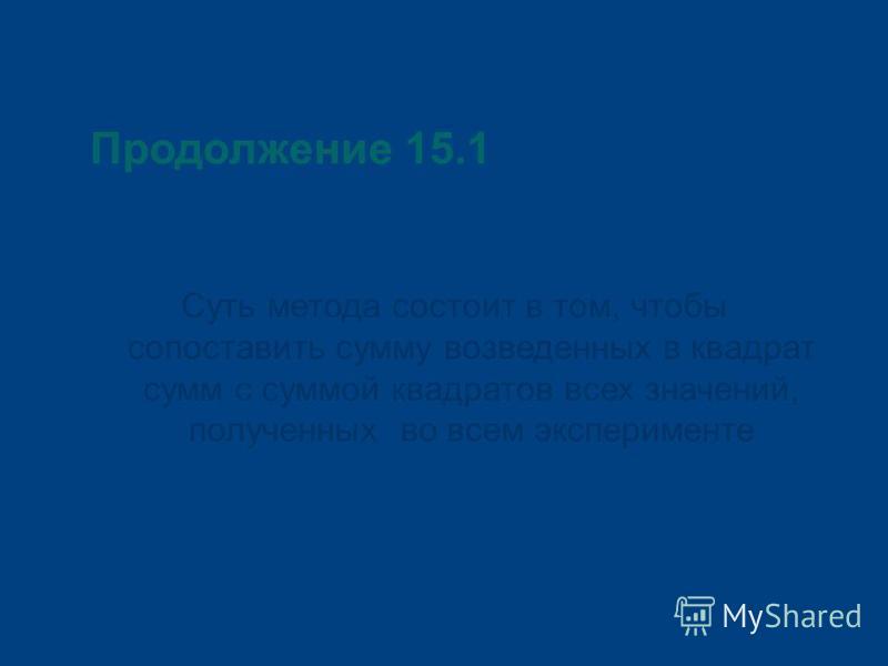 Продолжение 15.1 Суть метода состоит в том, чтобы сопоставить сумму возведенных в квадрат сумм с суммой квадратов всех значений, полученных во всем эксперименте