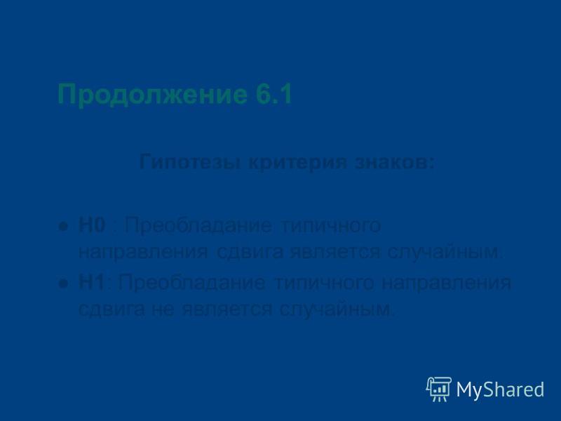 Продолжение 6.1 Гипотезы критерия знаков: Н0 : Преобладание типичного направления сдвига является случайным. Н1: Преобладание типичного направления сдвига не является случайным.