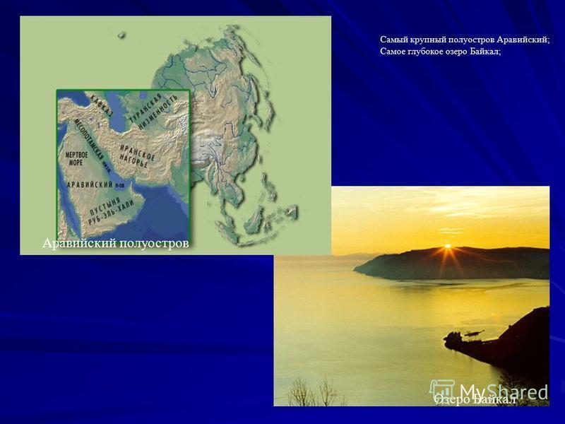 Самый крупный полуостров Аравийский; Самое глубокое озеро Байкал; Аравийский полуостров Озеро Байкал