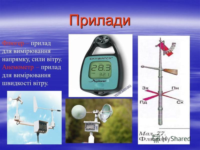 Прилади Флюгер – прилад для вимірювання напрямку, сили вітру. Анемометр – прилад для вимірювання швидкості вітру.