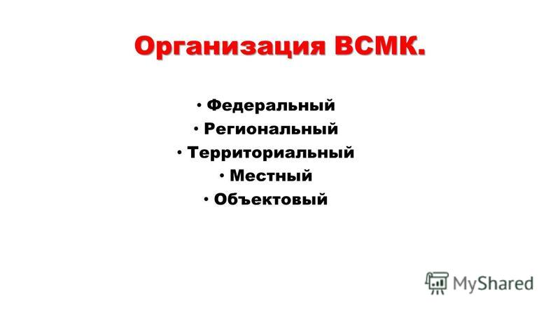 Организация ВСМК. Федеральный Региональный Территориальный Местный Объектовый