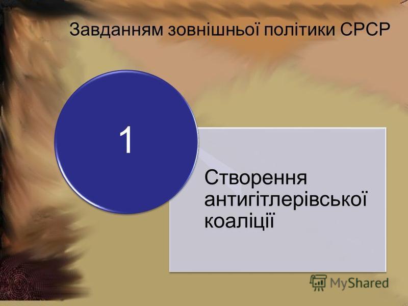 Завданням зовнішньої політики СРСР Створення антигітлерівської коаліції 1