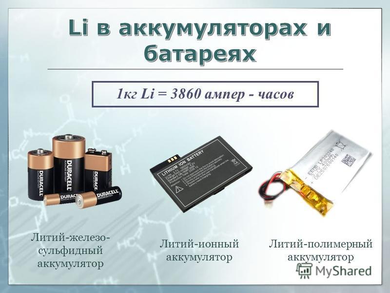 1 кг Li = 3860 ампер - часов Литий-железо- сульфидный аккумулятор Литий-ионный аккумулятор Литий-полимерный аккумулятор