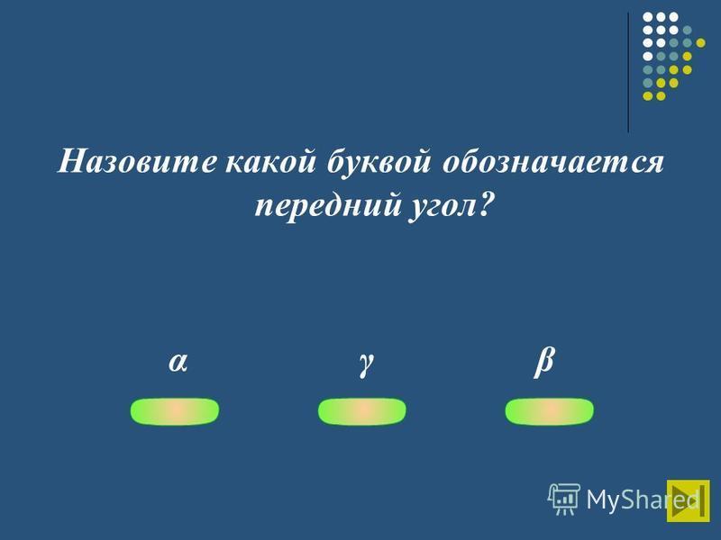 Назовите какой буквой обозначается передний угол? α γ β