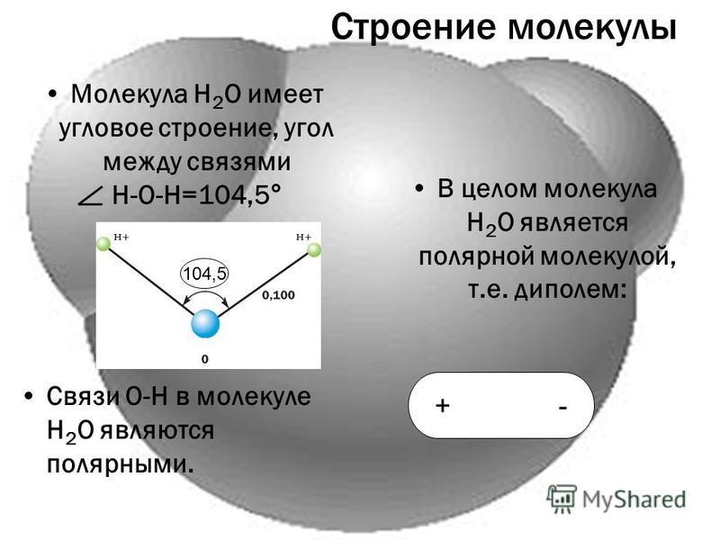 Строение молекулы Молекула Н 2 О имеет угловое строение, угол между связями Н-О-Н=104,5° Связи О-Н в молекуле Н 2 О являются полярныйми. В целом молекула Н 2 О является полярной молекулой, т.е. диполем: 104,5 + -