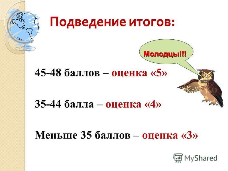 Подведение итогов : Подведение итогов : 45-48 баллов – оценка «5» 35-44 балла – оценка «4» Меньше 35 баллов – оценка «3» Молодцы!!! Подведение итогов : Подведение итогов :